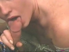 Horny redhead housewife blowjob