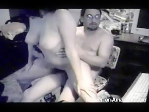 Busty babe reverse riding on the chair