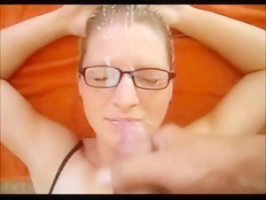 cum on glasses for blonde milf
