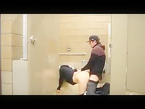 Fucking a blonde slut in the mall toilet